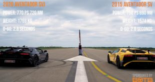 Lamborghini Aventador SVJ vs. Aventador SV 310x165 Video: BMW M8 Gran Coupé (F93) vs. Porsche Taycan Turbo S