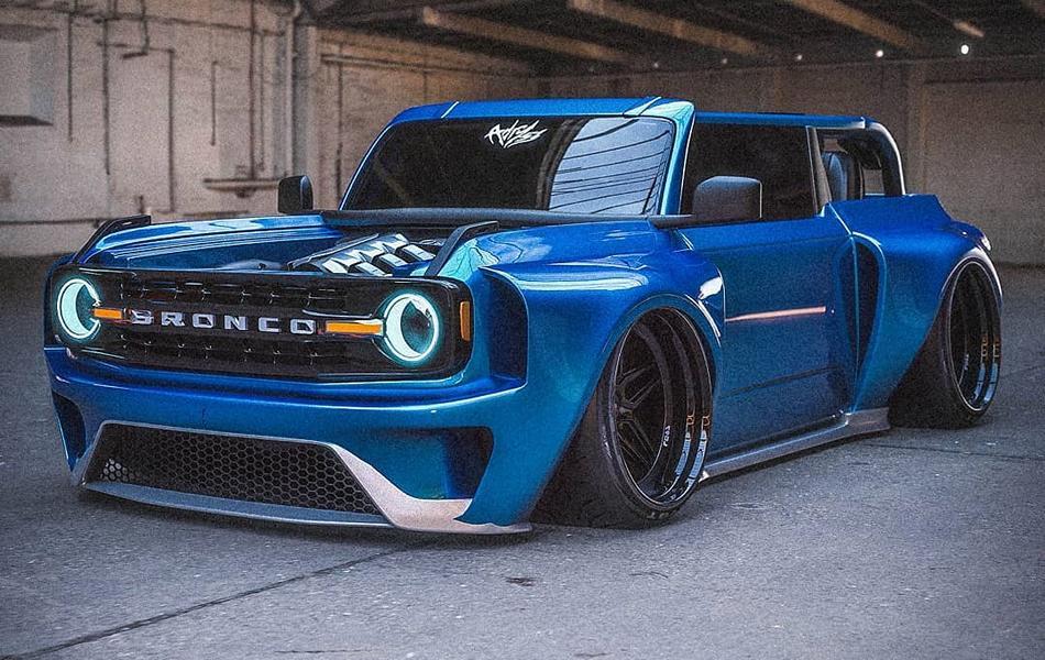 Airride LD97 Slammed Ford Bronco GT V6 Tuning Widebody 3 Verrückt   Slammed Ford Bronco GT mit Widebody Kit!