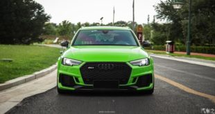 Neon green Audi RS4 20 inch Alus Stance Tuning Foil Head 310x165 Neon green Audi RS4 with 20 inch Alus and Stance Tuning.