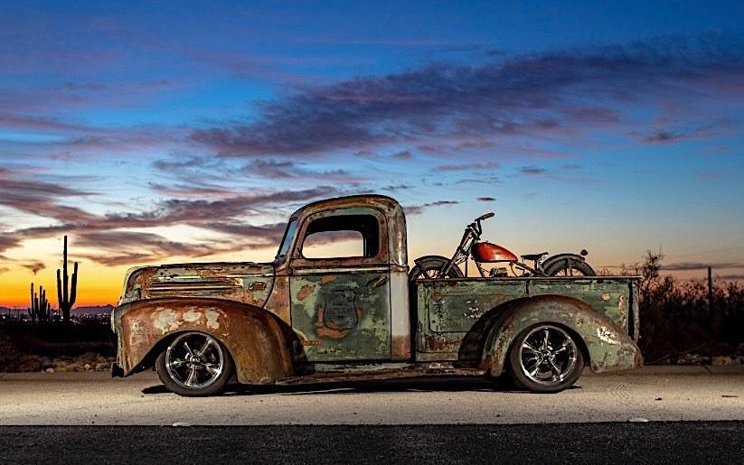 1946 Ford F 1 Pickup Rat Harley Davidson Summer Tuning 44 1946 Ford F 1 Pickup as Rat with Harley Davidson!