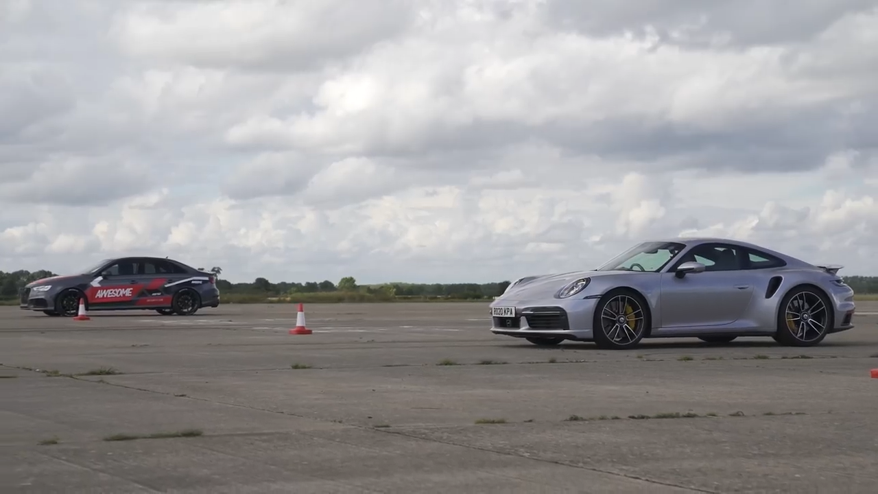 700 HP Audi RS3 vs. Porsche 911 Turbo S 992 Video: +700 HP Audi RS3 vs. Porsche 911 Turbo S (992)