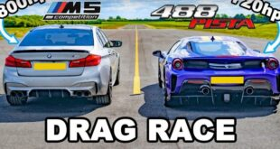 720 HP Ferrari 488 Pista vs. 800 HP BMW M5 F90 310x165 Video: 720 HP Ferrari 488 Pista vs. 800 HP BMW M5 F90!