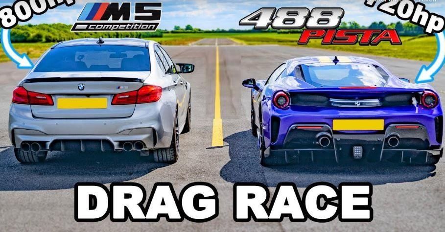 720 HP Ferrari 488 Pista vs. 800 HP BMW M5 F90 Video: 720 HP Ferrari 488 Pista vs. 800 HP BMW M5 F90!