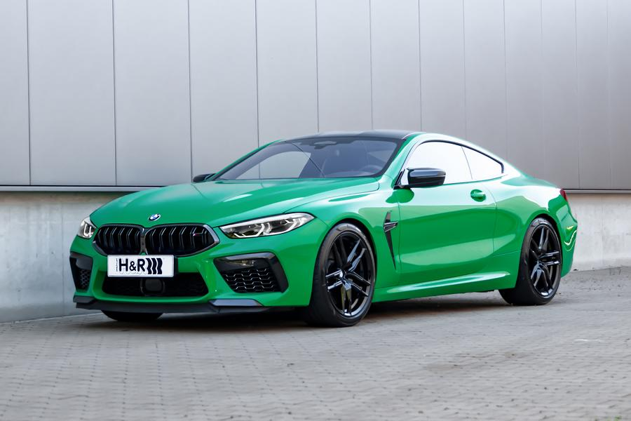 BMW M8 Competition Coupe Sportfedern Front The green machine: H&R Sportfedern für BMW M8 Coupe