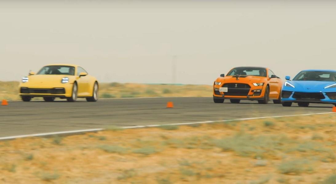 Drag race Porsche 911 vs. Corvette C8 vs. Shelby GT500 Video: Drag race Porsche 911 vs. Corvette C8 vs. Shelby GT500