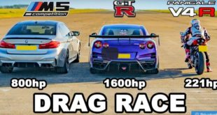 Evolve BMW M5 vs. 1.600 HP Nissan GT R Ducati V4R 310x165 Video: Evolve BMW M5 vs. 1.600 HP Nissan GT R & Ducati V4R