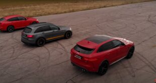 Drag race Jaguar F Pace SVR BMW X4M Mercedes AMG GLC 63S 310x165 Video: Nissan GT R RWD gegen Trans Am Camaro Race Car!