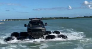 whistlindiesel Monstermax Pickup 8 tires Gulf of Mexico 1 310x165 Video: Monstermax Pickup with 8 tires in the Gulf of Mexico!
