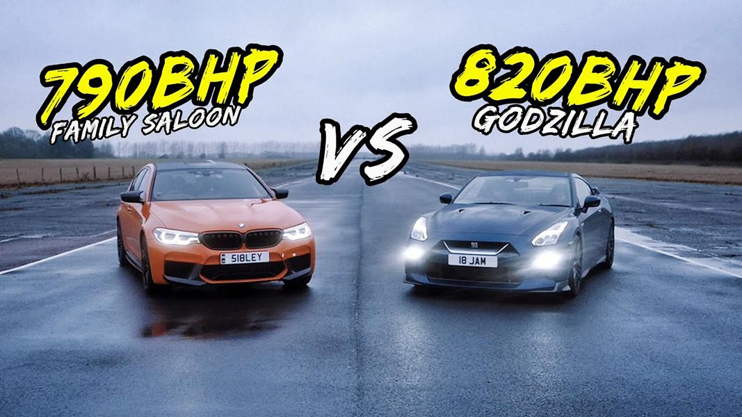 790 PS BMW M5 F90 vs. 820 PS Nissan GT R Video: 790 PS BMW M5 F90 vs. 820 PS Nissan GT R!