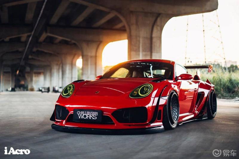 Roter Porsche Cayman 987 Widebody Kit Tuning Turbofans 5 Roter Porsche Cayman (987) mit extremem Widebody Kit!