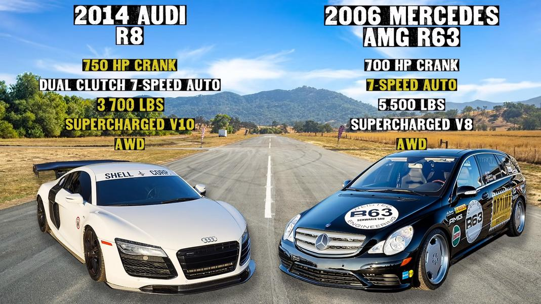 Audi R8 V10 Kompressor vs. Mercedes AMG R63 Video: Audi R8 V10 Kompressor vs. Mercedes AMG R63!