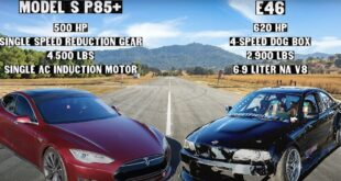 BMW 3er E46 mit LSX V8 vs. Tesla Model S 1 310x165 Video: Knuckle Busters BMW E36 M3 vs. Hemi Jeep!