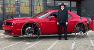 Dodge Challenger Hellcat Carriage Wheels Aluminum Tuning 2 310x165 Video: Amish Car? Dodge Challenger Hellcat on carriage wheels!