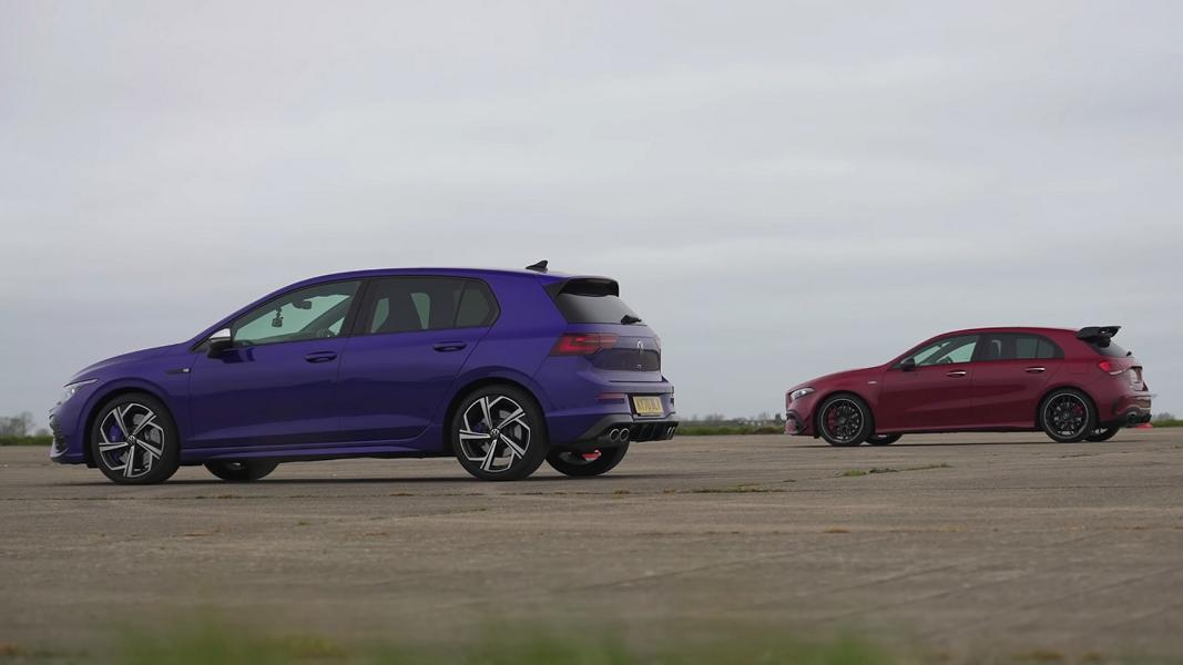 Mercedes AMG A45 vs. 2022 VW Golf R MK8 2 Video: Mercedes AMG A45 vs. 2022 VW Golf R (MK8)