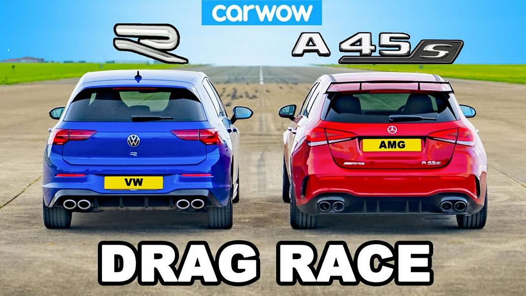 Mercedes AMG A45 vs. 2022 VW Golf R MK8 Video: Mercedes AMG A45 vs. 2022 VW Golf R (MK8)